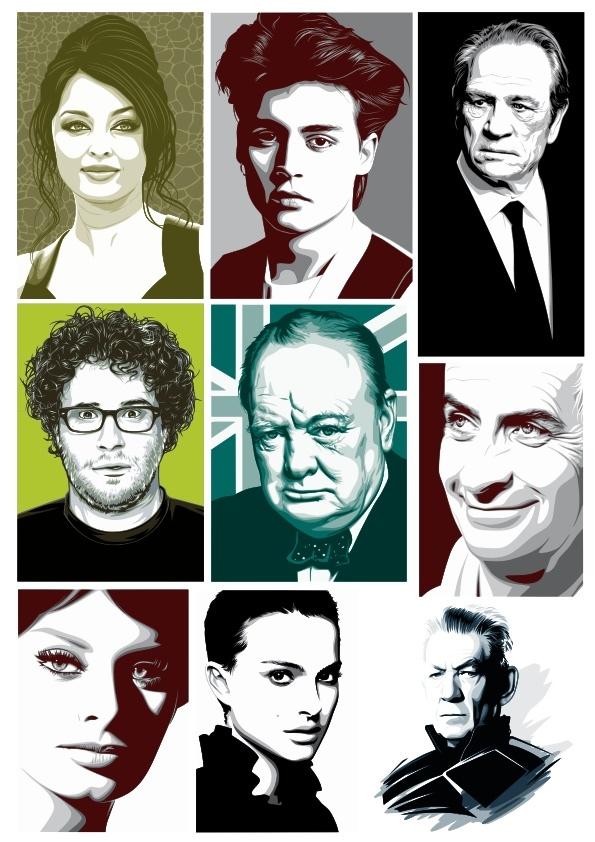 Celebrity Portraits Free Vector Cdr