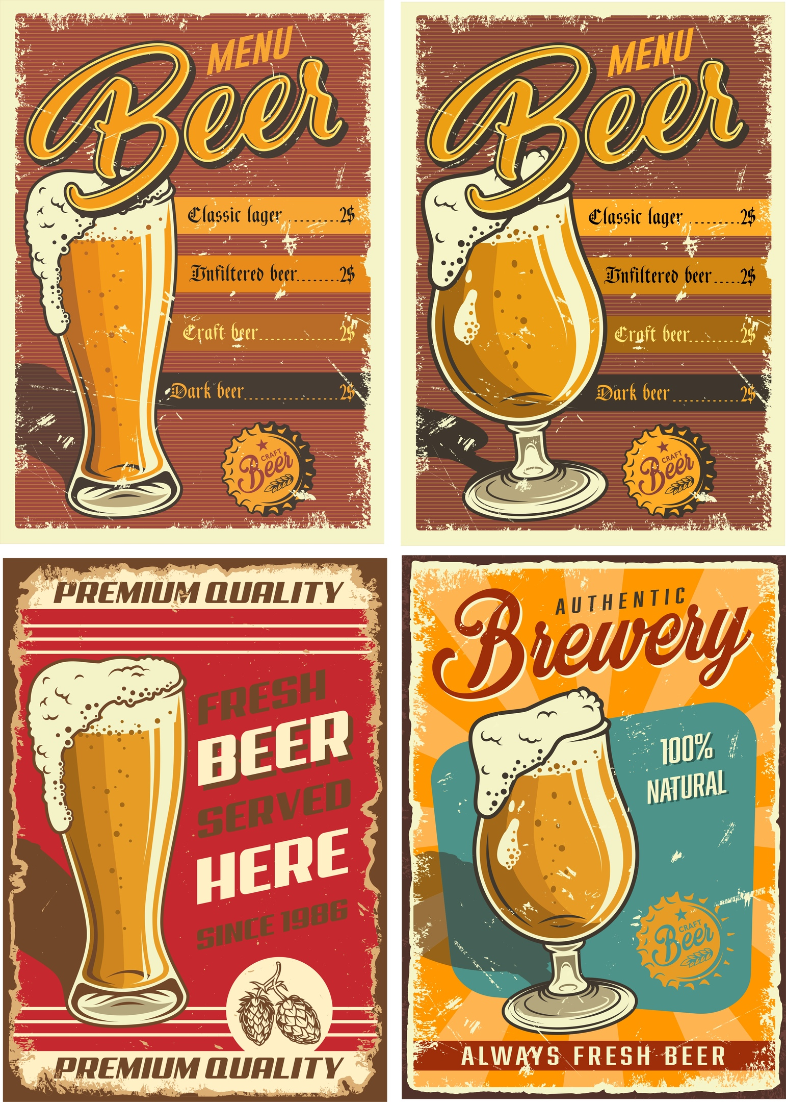 Retro Beer Posters 2 Free Vector Cdr
