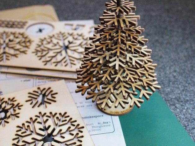 Lasercut snowflake Christmas tree Free Vector Cdr