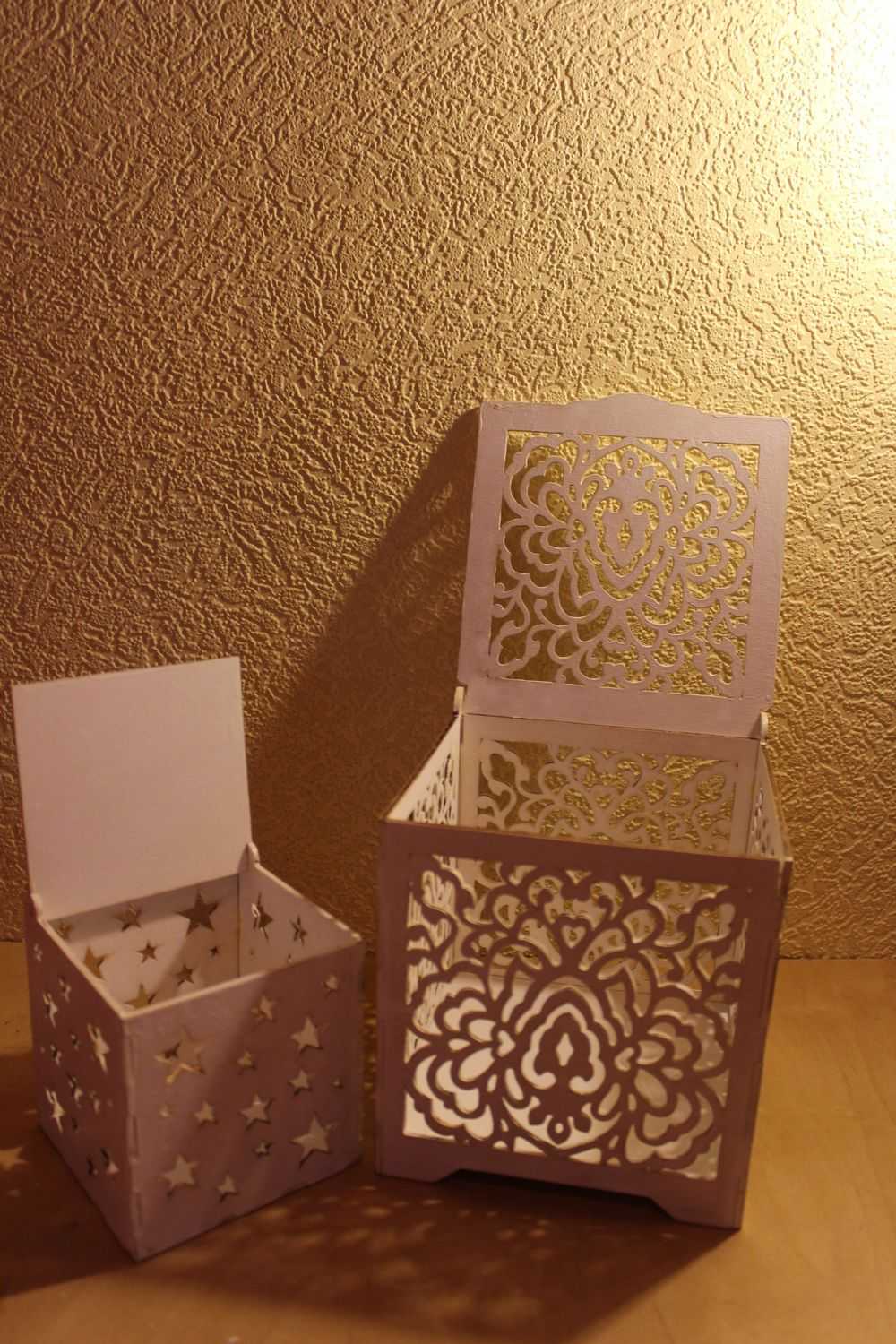 Laser Cut Wood Box with Flower Motif Free Vector Cdr