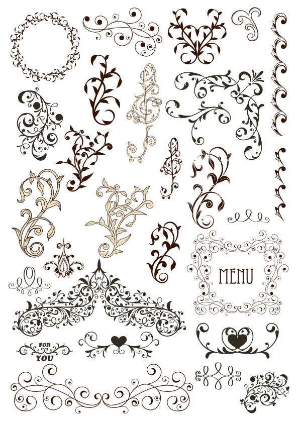 Vintage Decor Ornaments Free Vector Cdr