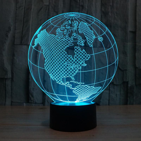 Planet Earth 3d illusion acrylic lamp Free Vector Cdr