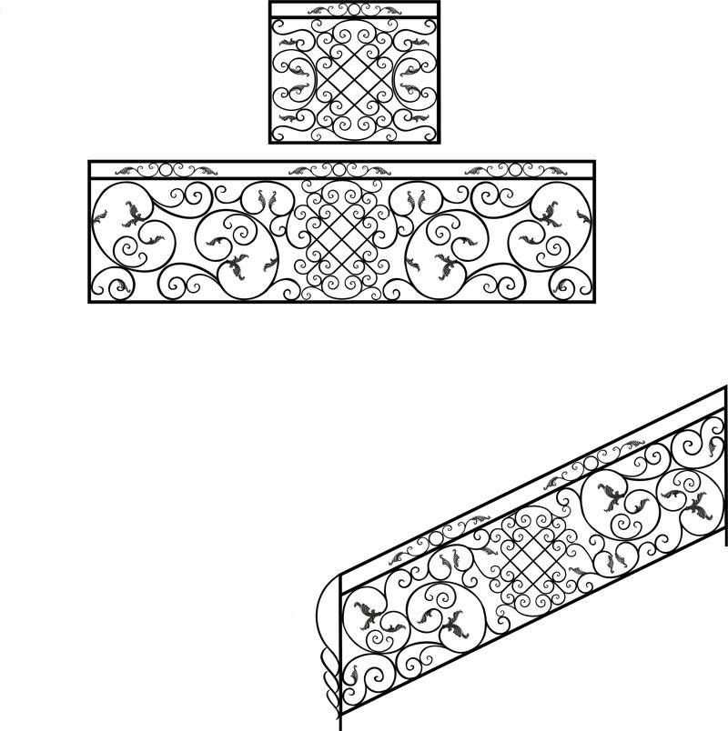 Wrought Iron Stair Railing Design Free Vector Cdr