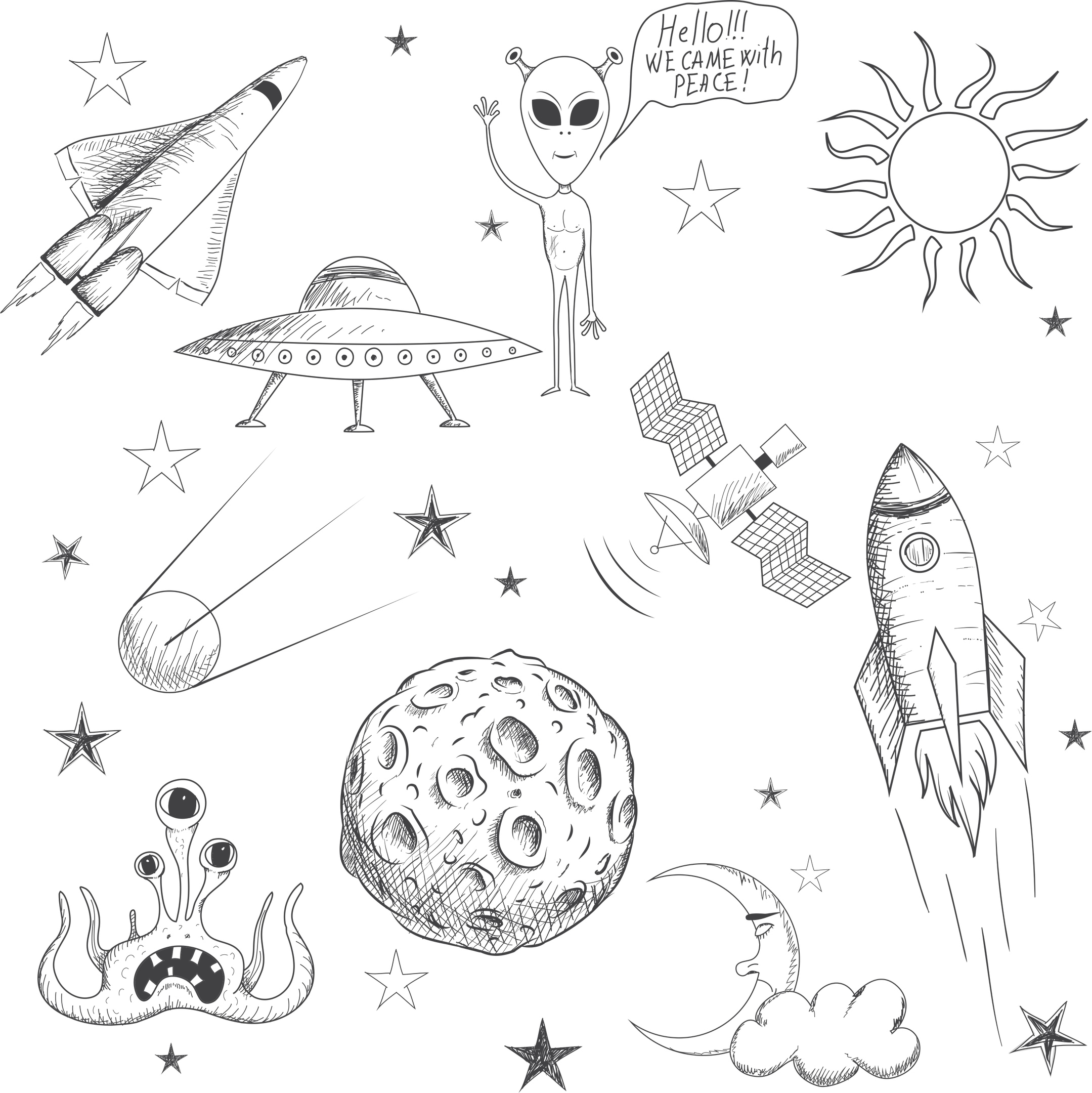 Space Doodle Free Vector Cdr