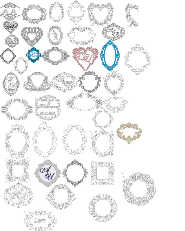 Wedding Monogram Vector Art Collection Free Vector Cdr