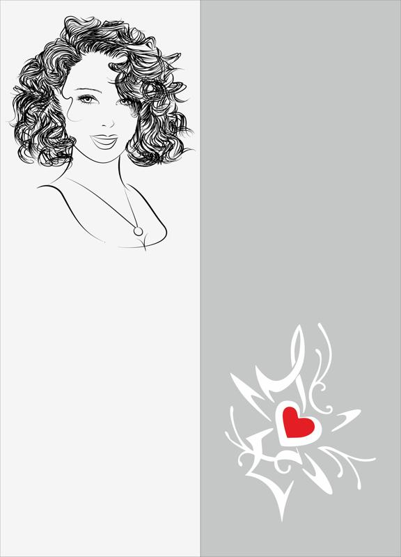 Sketch Of Stylish Young Girl Sandblast Pattern Free Vector Cdr