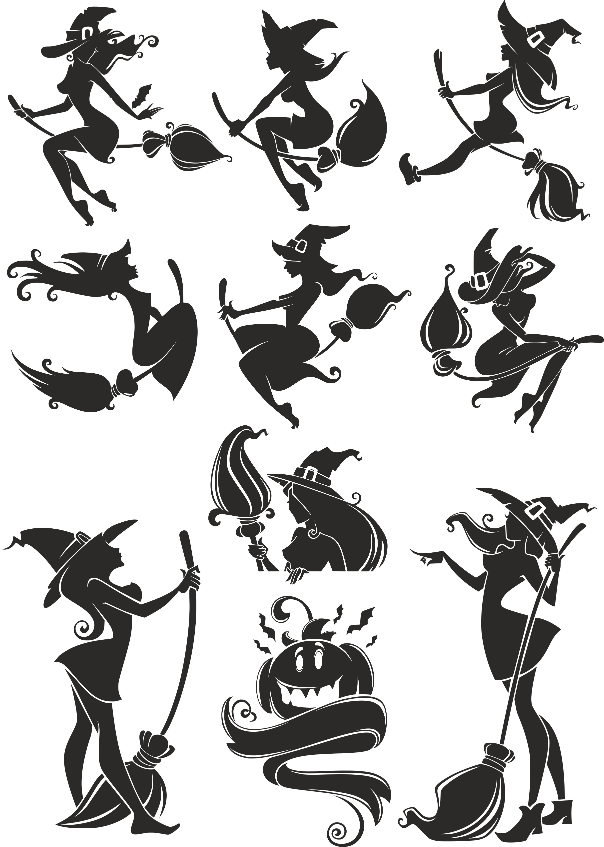 Witch Silhouette Vectors Free Vector Cdr