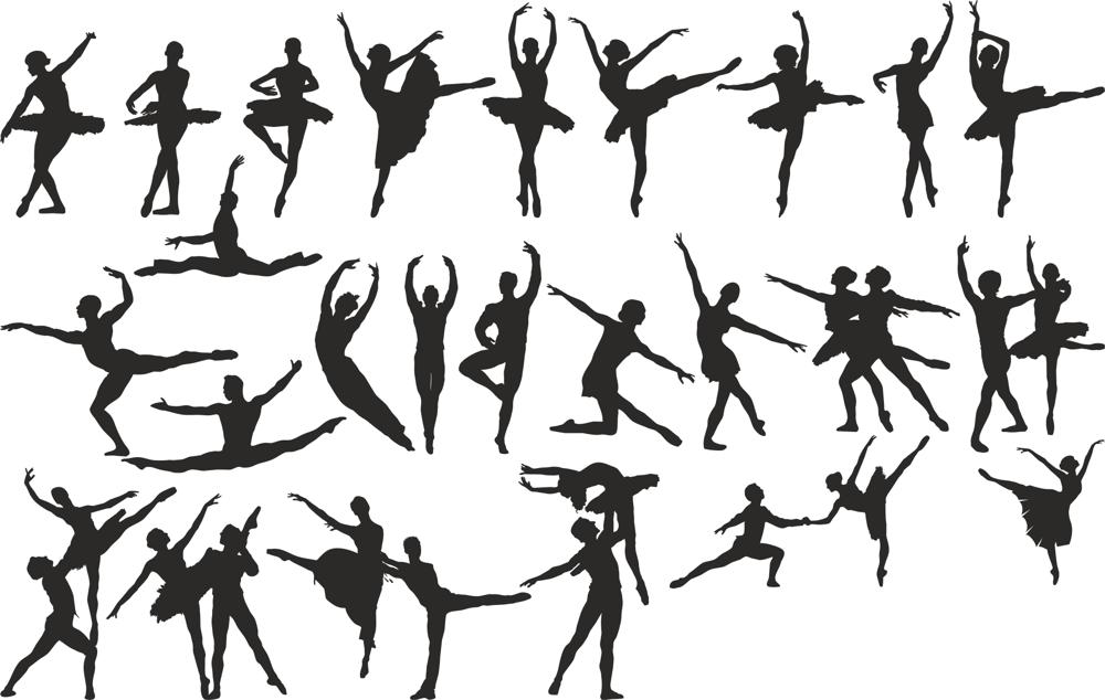 Ballet Dancer Silhouette Vector Set Free Vector Cdr