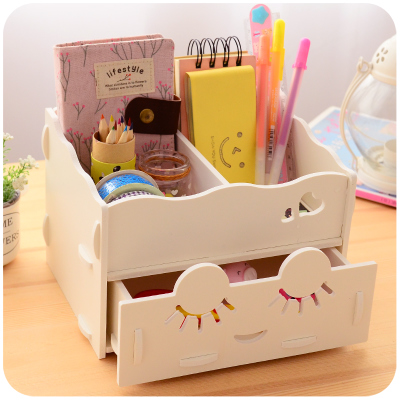 Wooden Storage Box Desk Organizer for Cosmetics Free Vector Cdr