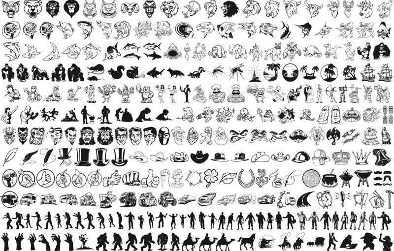 Mix vector silhouettes clipart Free Vector Cdr