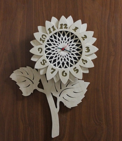Flower Design Decorative Wall Clock Free Vector Cdr