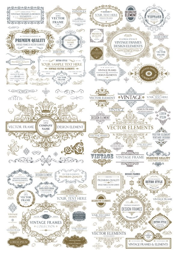 Vintage Seamless Collection Free Vector Cdr