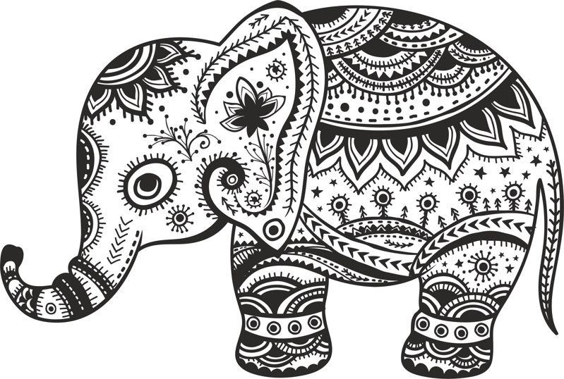 Retro Floral Elephant Free Vector Cdr