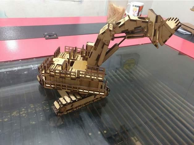 Mining excavator Hitachi EX8000 3D Puzzle Pattern Free Vector Cdr