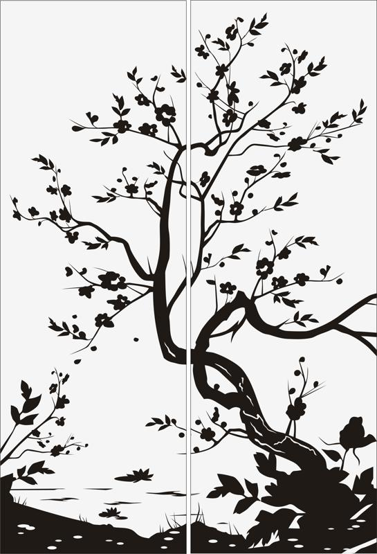 Tree Scenery Sandblast Pattern Free Vector Cdr