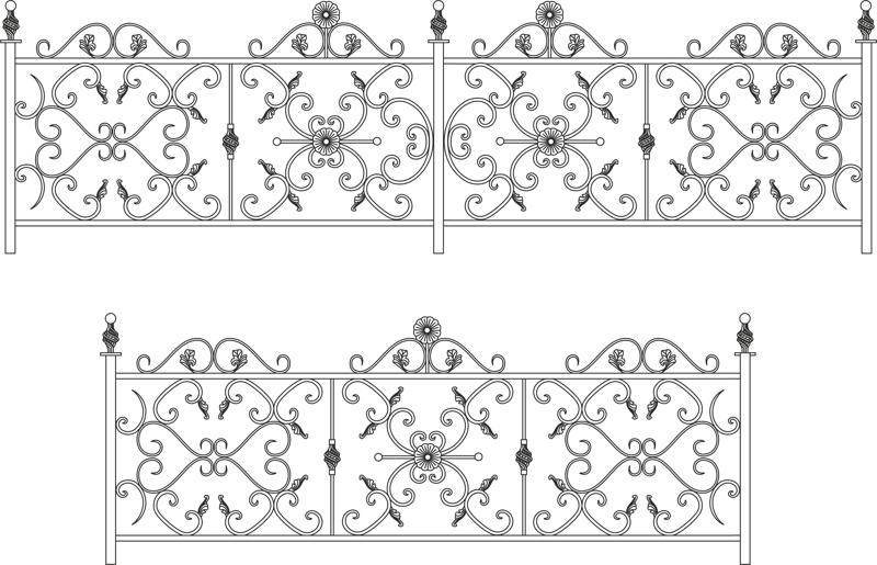Decorative Wroughtiron Fence Or Railing Free Vector Cdr