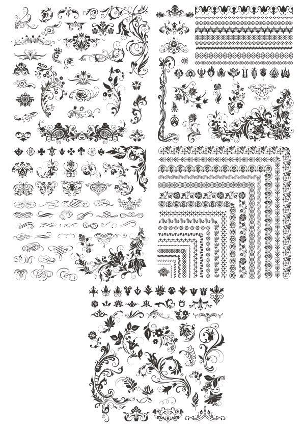 Decor Floral Elements Free Vector Cdr
