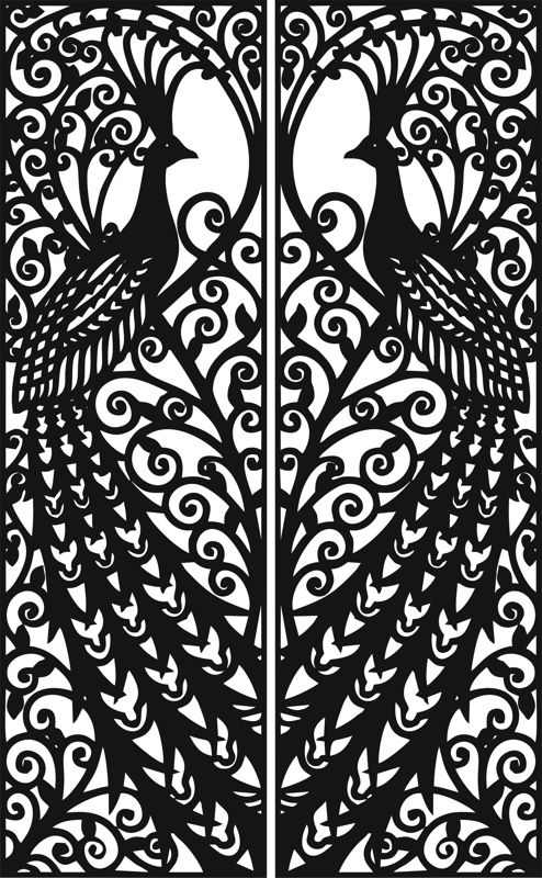 Laser Cut Door Design Peacock Free Vector Cdr