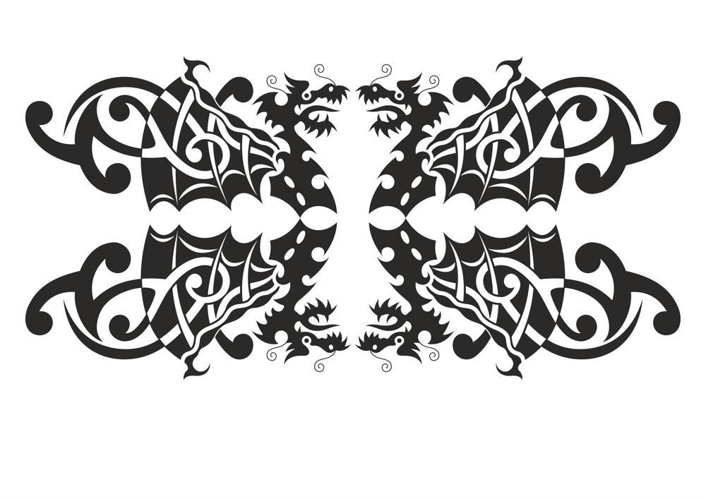 Silhouette Dragon vector art Free Vector Cdr