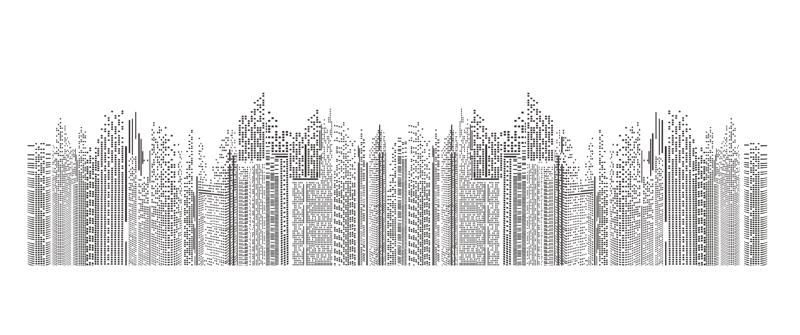 Seamless Cityscape Building Line Art Free Vector Cdr