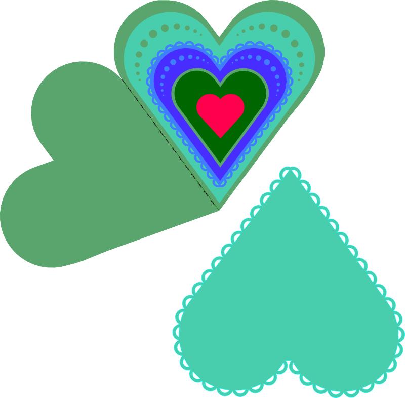 Layered Heart Fold Card Free Vector Cdr