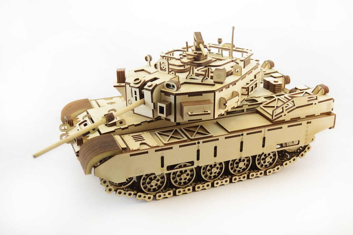3D Wood Tank Puzzle Kit Engraved Laser Cut Free Vector Cdr