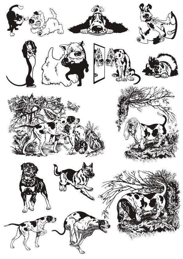 Dogs Stickers Vector Free Vector Cdr