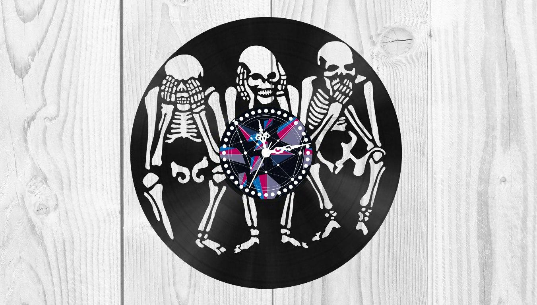 Skeletons Vinyl Clock Free Vector Cdr