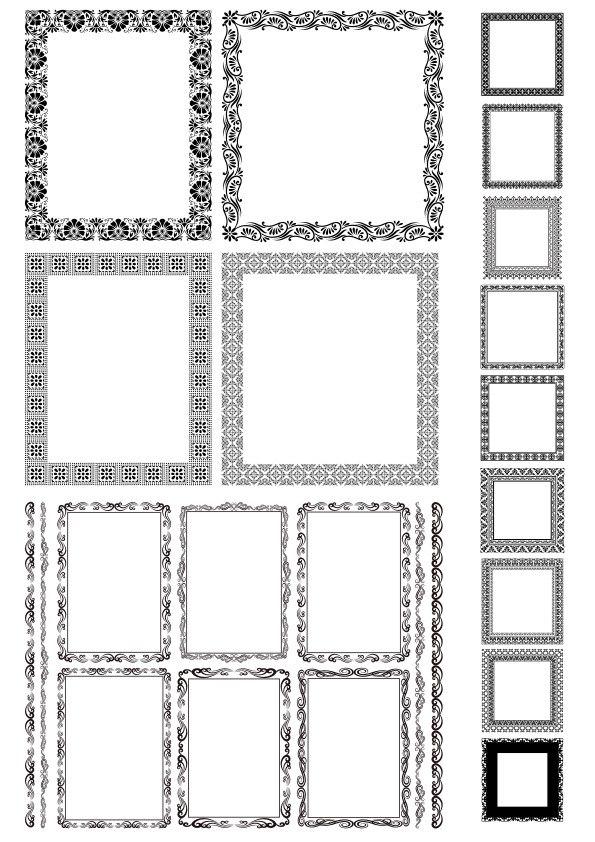 Rectangle Decor Frame with Border Vector Set Free Vector Cdr