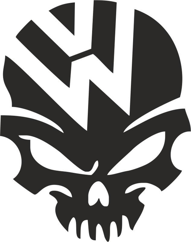 VW Volkswagen Logo Skull Vector Free Vector Cdr
