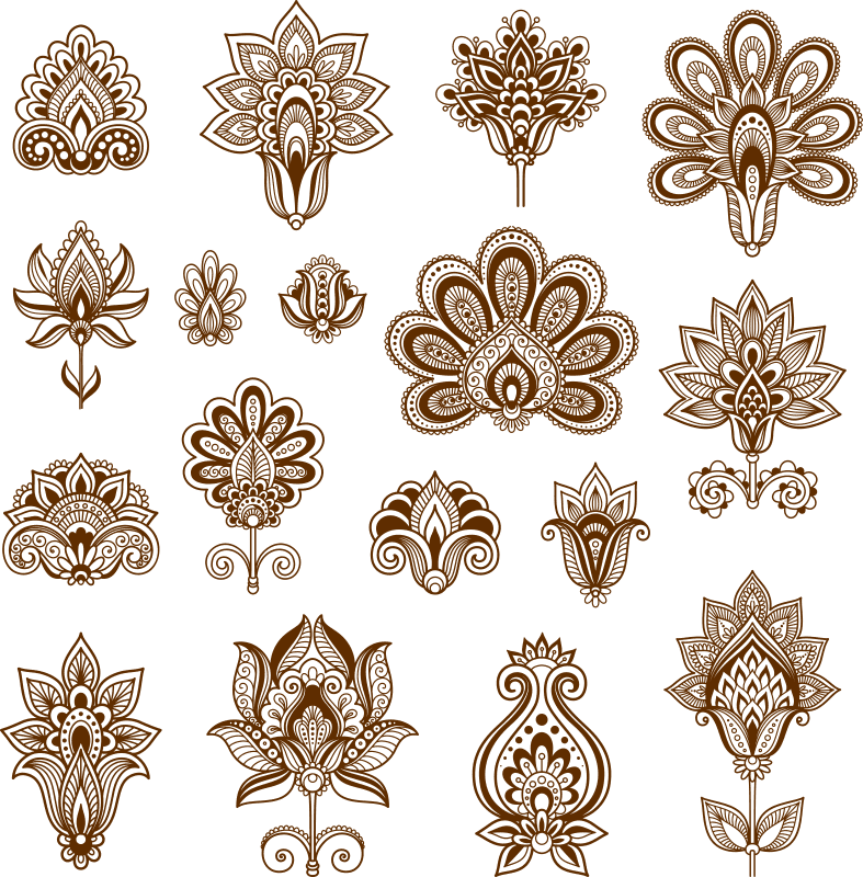 Henna Set of ornamental stylized flowers Free Vector Cdr