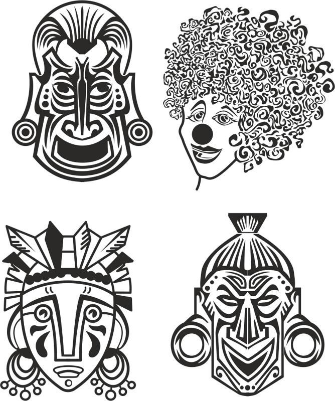 Indian Aztec African Historic Tribal Mask Vector Free Vector Cdr