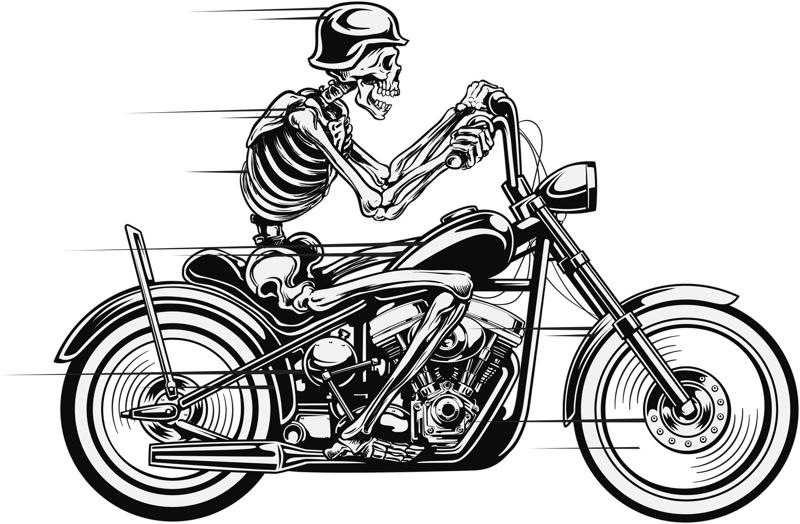 Vector Skull Motorcycle Free Vector Cdr