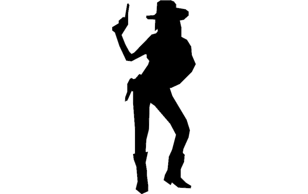 cowgirl with gun Free Dxf for CNC