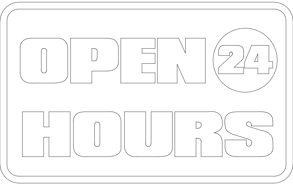 open 24 hours board Free Gcode .TAP File for CNC