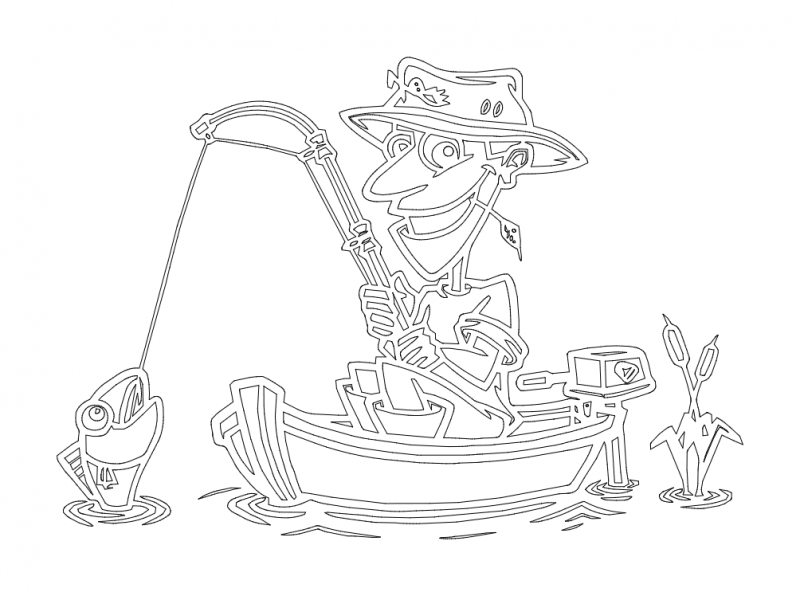 fish fisherman in boat Free Dxf File for CNC