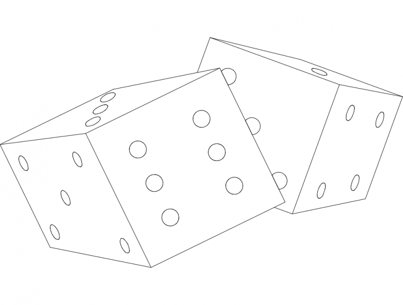dice 2 Free Dxf File for CNC