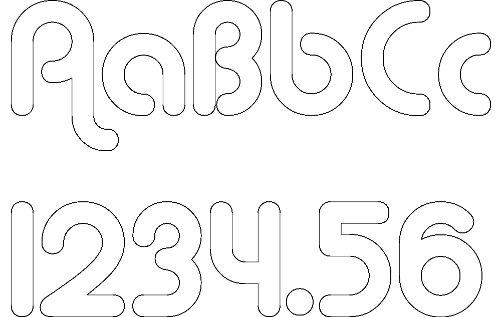 letters and numbers Free Dxf File for CNC
