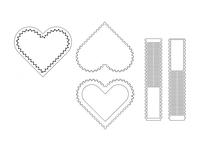 kalpl kutu (heart box) Free Dxf File for CNC