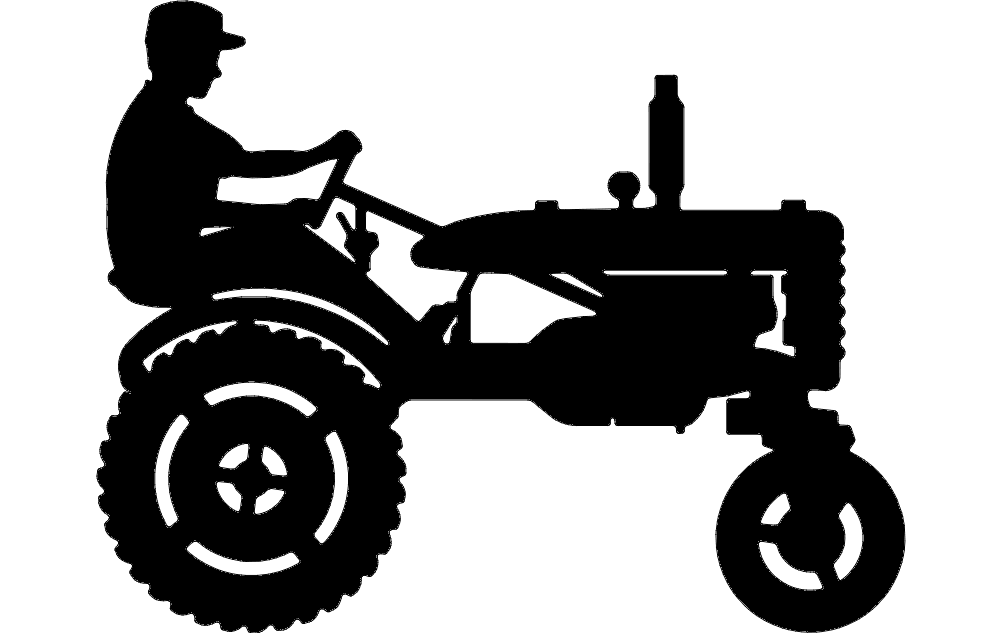 tractor silhouette 3 Free Dxf File for CNC