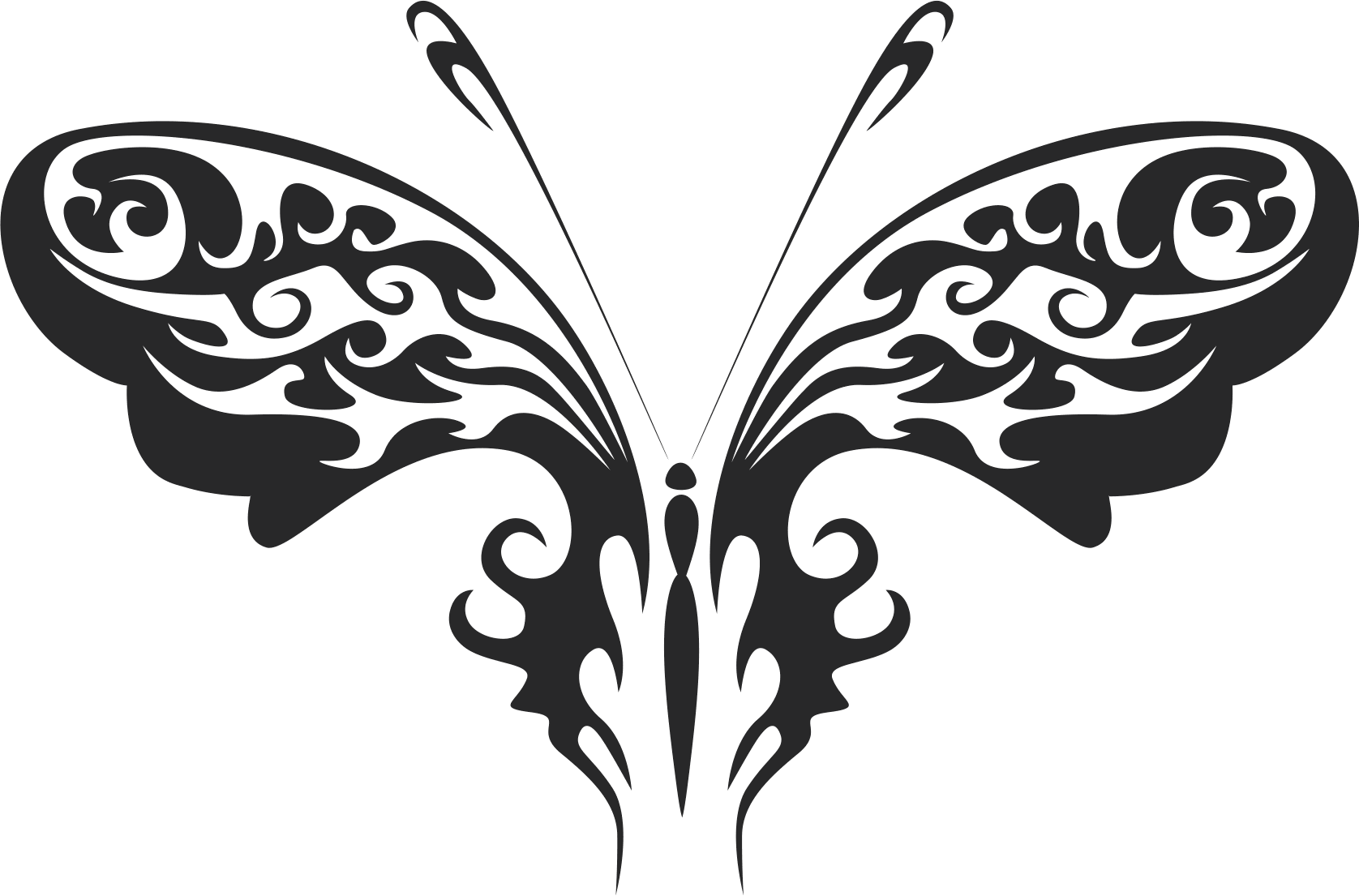 tribal butterfly vector art 30 Free Dxf File for CNC