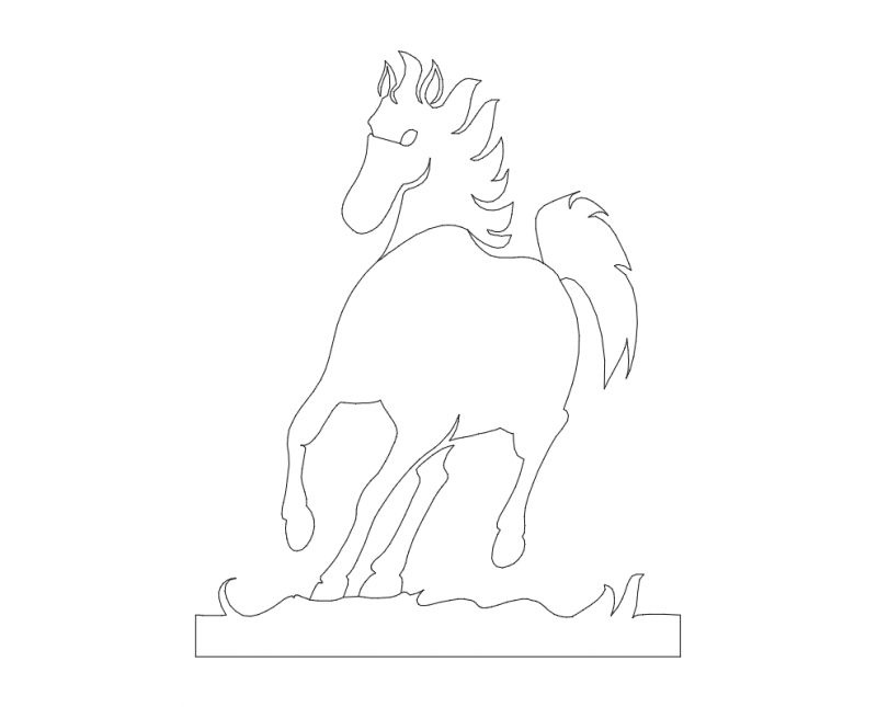 horse Free Dxf File for CNC