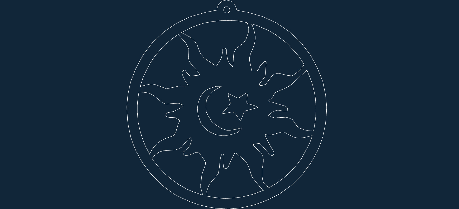 sun moon star Free Dxf File for CNC