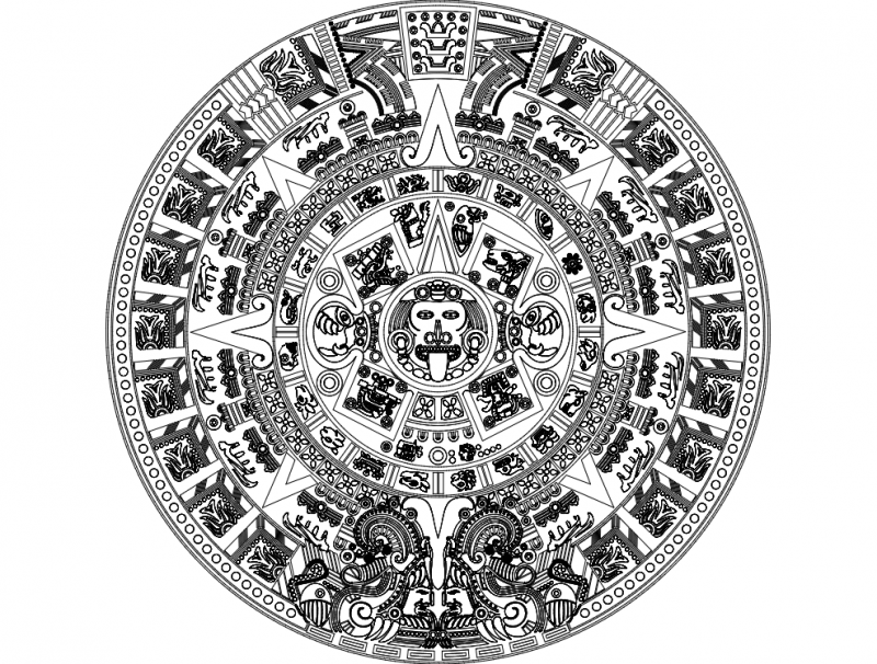 aztec sun stone vectors Free Dxf File for CNC