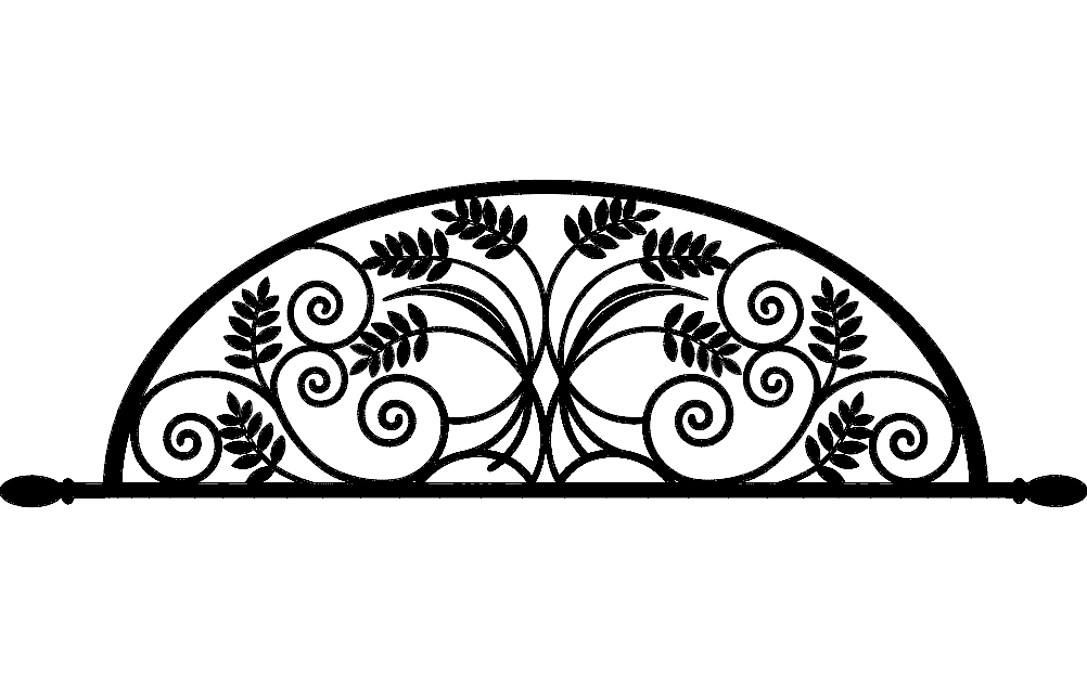 ironwork arch flower design Free Dxf File for CNC