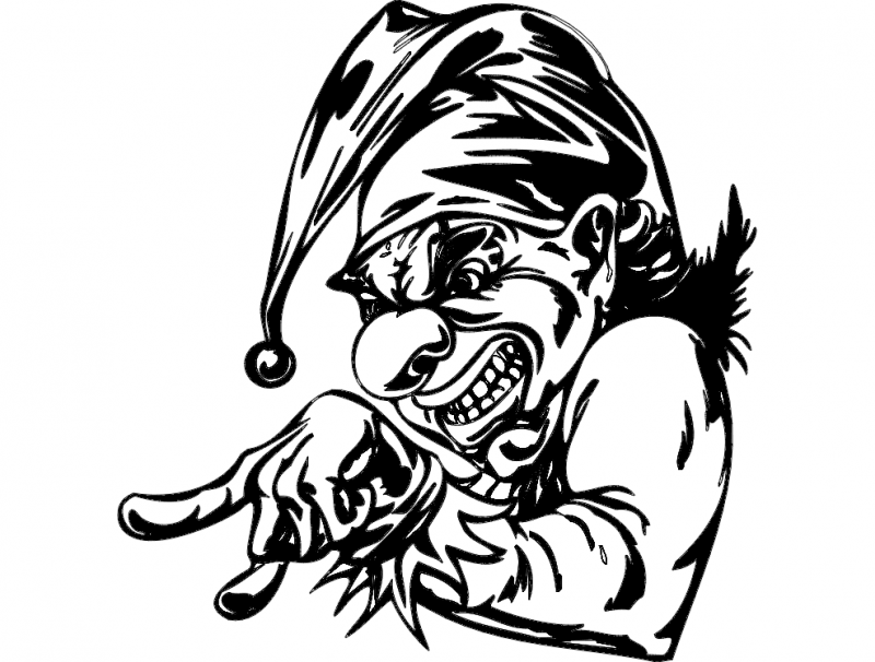 scary clown 012 Free Dxf File for CNC