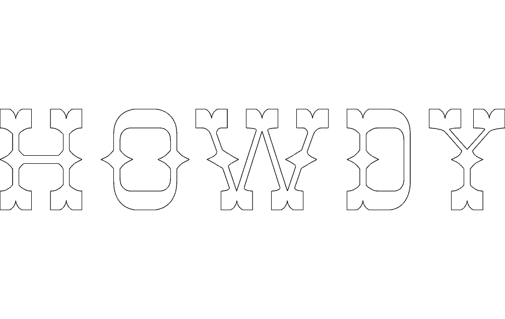 howdy letters Free Dxf File for CNC
